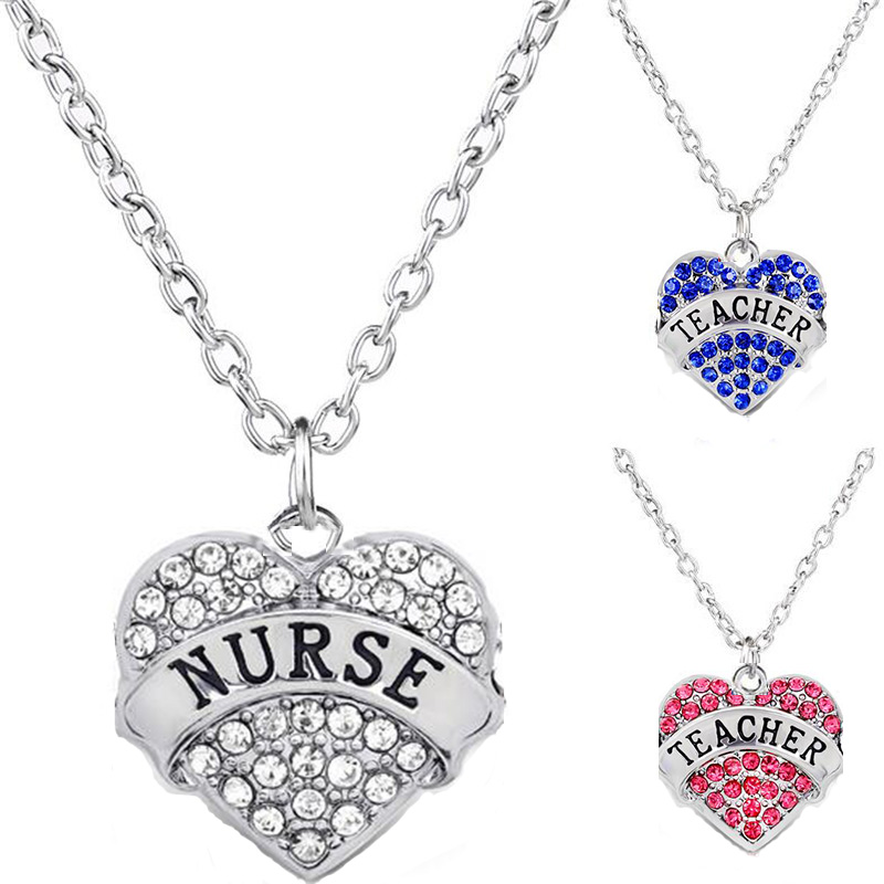 Christmas Gift New Pink Blue Crystal Grandma Nurse Teacher Necklace Pendant For Woman Student I Love You Fine Jewelry Wholesale
