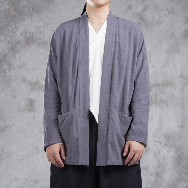 Men Cotton Linen Cardigan Jacket China Style Kongfu Costumes Coat Male  Spring Autumn Loose Kimono Overcoat 4f26661af