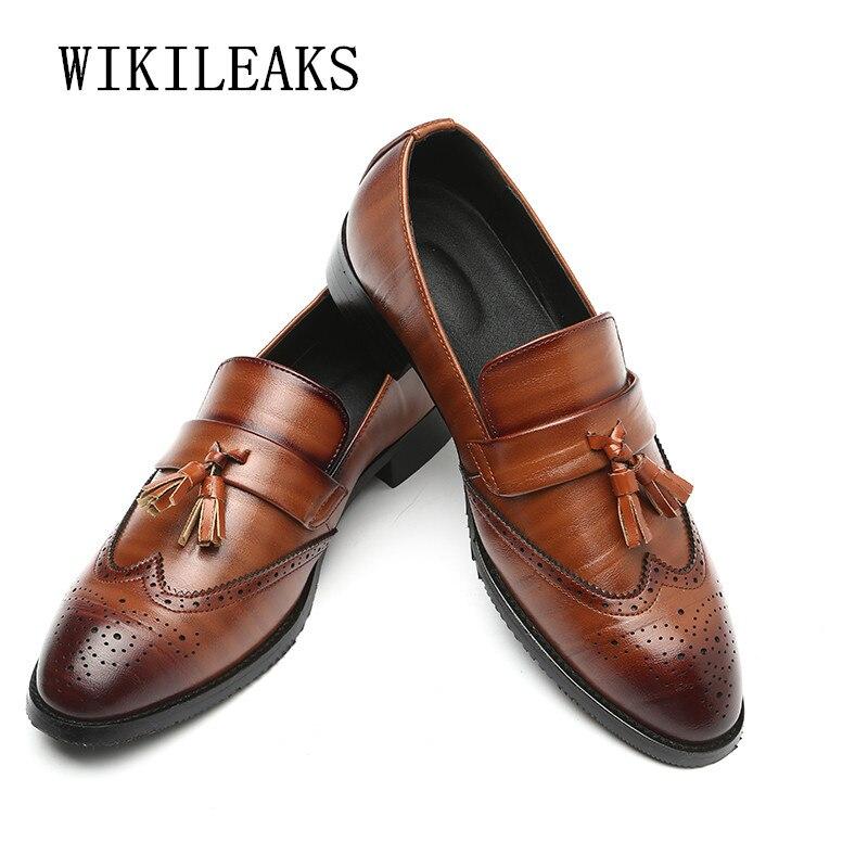c8a252fb6 Купить Итальянский бренд мужской обуви без шнуровки Мокасины Формальные  mariage торжественное платье обувь мужские кожаные туфли оксфорды для  Мужск..