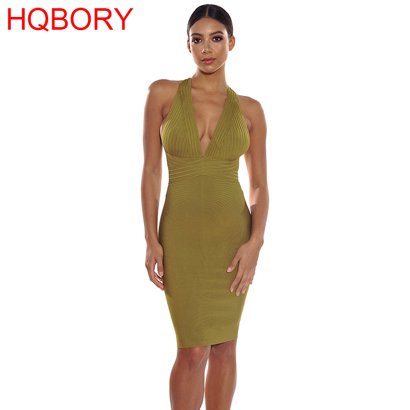 Olive Green Halter Backless Halter Sleeveless V neck 2018 New Arrivals Bodycon Knee Length Bandage Dress-in Dresses from Women's Clothing on AliExpress - 11.11_Double 11_Singles' Day 1