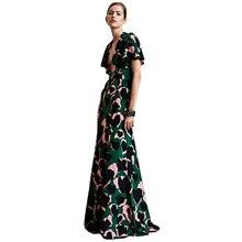 Дизайнерское Брендовое камуфляжное женское платье с леопардовым принтом сексуальное платье с глубоким v-образным вырезом и рукавом-бабочкой
