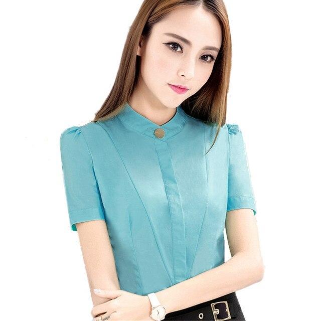 c5e2a3b1a58655 Women clothes slim shirt OL formal short sleeve chiffon blouses office  ladies plus size work wear top blusas feminina ver o 2017