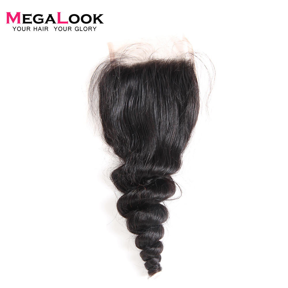 Megalook Human-Hair Lace-Closure Wave Brazilian 10-22inch Free-Part Loose 100%Remy