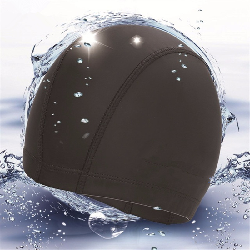 Elastic Waterproof PU Fabric Protect Ears Long Hair Sports Swim Pool Hat Swimming Cap si ...