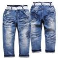 3940 DO BEBÊ calças de BRIM MENINO calças do bebê calças meninas azul new roupas crianças das crianças denim calças elásticas primavera & outono moda