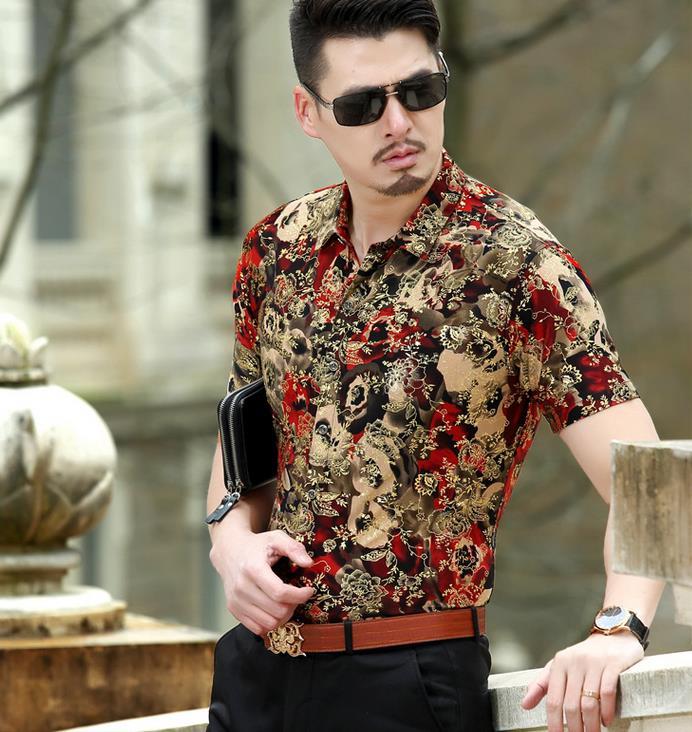 Zomer Overhemd.Mens Bloem Patroon Business Casual Zijde Shirts Bloemen Sexy Shirts