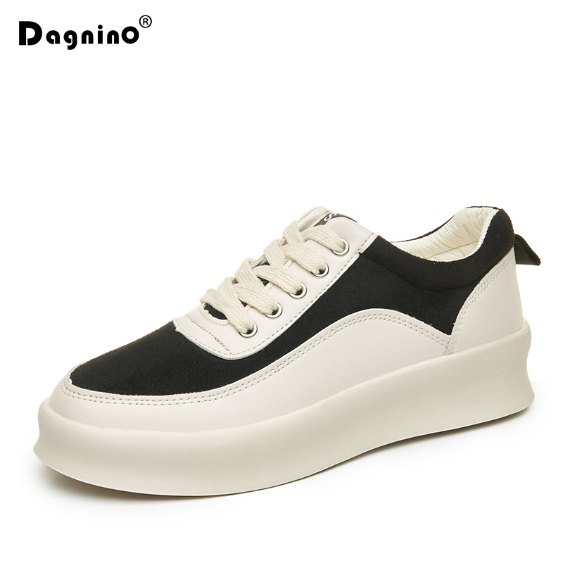 DAGNINO Fashion Women White Leisure Sneakers PU Leather Lace Up Casual Shoes Woman Breathable Solid Color Flat Platform Footwear free shipping candy color women garden shoes breathable women beach shoes hsa21