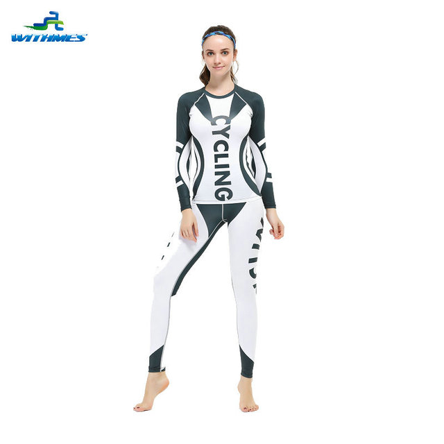 66a58f9c WFL-4W / White Stylish Women Skin Tracksuits Bicycle Tights Clothes Latest  MTB Set Yoga Fitness MMA Gym Running Sports Tee Wear