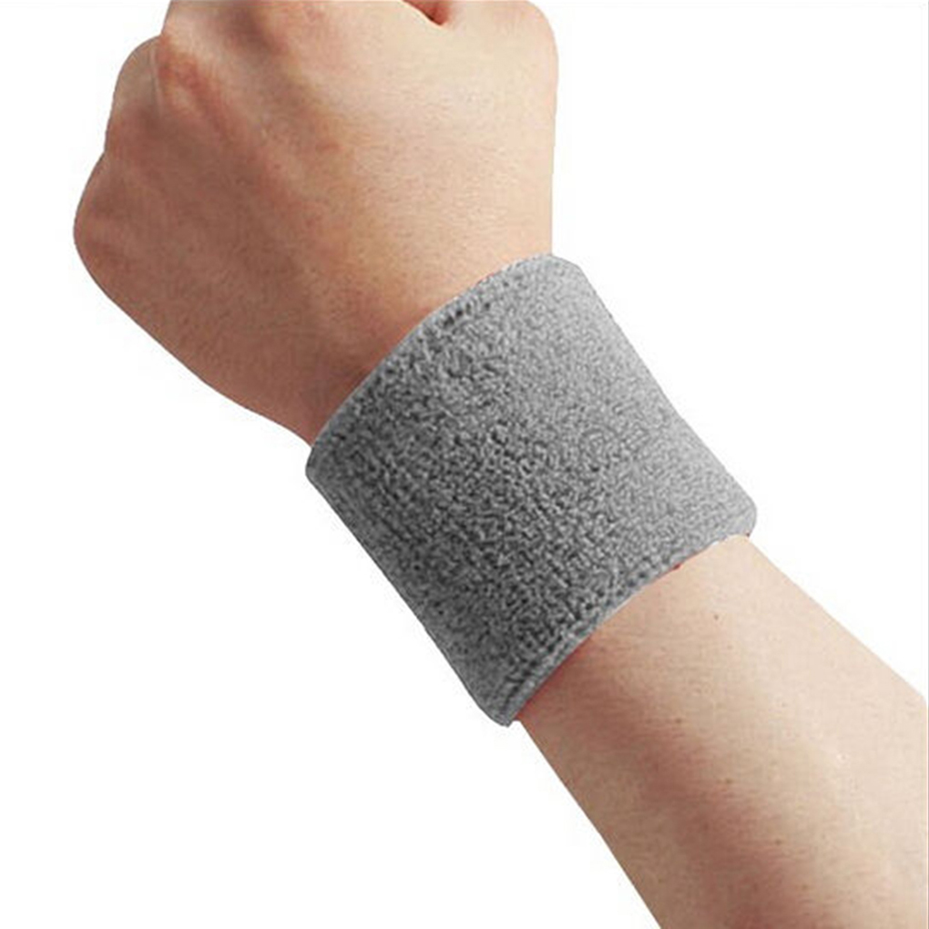 1x Unisex Terry Cloth Cotton Sweatband Sports Wrist Tennis Yoga Sweat