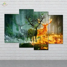 Earth Water and Fire Deers Wall Art Canvas Painting Posters and Prints Decorative Picture Decoration Home For Living Room 4 PIEC