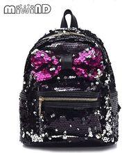 Miwind-F бантом Блестками Блестящие Bling Цвет яркий качество симпатичный рюкзак, модные Известные бренды новый дамы плеча школьная сумка
