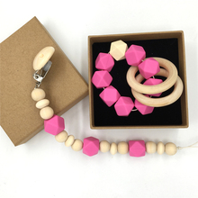 Wood Pacifier Clip Organic Wood Montessori Toy Rose Silicone Beads Teether Wooden Baby Teether Ring Infant