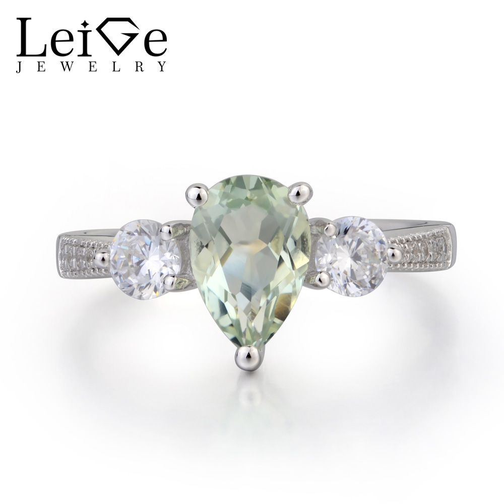 Leige Jewelry Real Natural Green Amethyst Ring Wedding Ring  Pear Cut Green Gemstone 925 Sterling Silver Ring Three Stones Ring