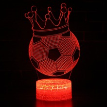 Creative 3D Visual illusion Lamp LED Night Lights Crown Soccer Football Discoloration Colorful Atmosphere Lamp Novelty Lighting novelty 3d visual acrylic led night light nba basketball usb lighting bedroom table lamp colorful gradient atmosphere lamp gx092