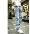 O envio gratuito de Alta Qualidade costura designer casual skinny jeans calças jeans de marca calças de brim dos homens denim calças azul cal