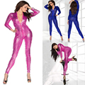 5 Colors Hot Women Sexy Shiny Leather Latex Jumpsuit Hollow Out Hole DJ Dance Catsuit Exotic Clubwear PVC Bodysuit Size S M L XL