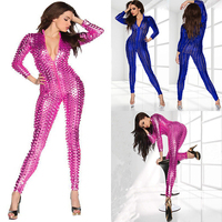 2015 Hot Sale Lady Sexy Shiny Paint Leather Leotard PVC Latex Hollow Out Catsuit Exotic Clubwear