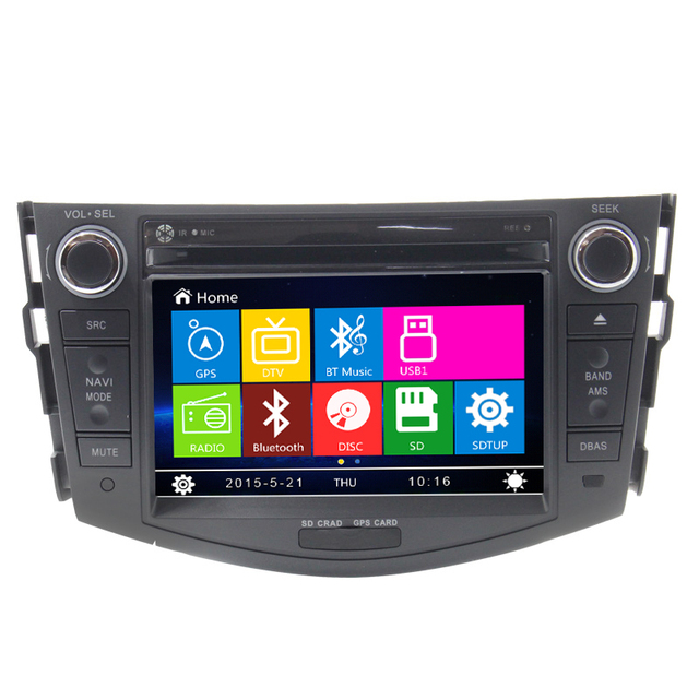 Mejor estable doble din navegación gps para toyota rav4 con Reproductor de Dvd del coche Con Bluetooth Incorporado de la Cámara Trasera IPOD RDS USB TV
