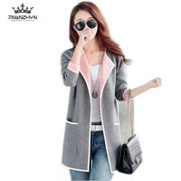 2016 New Autumn Fashion Spell Color Knitted Cardigan Sweater Women Loose Big Yards Thicken Warm Knitted