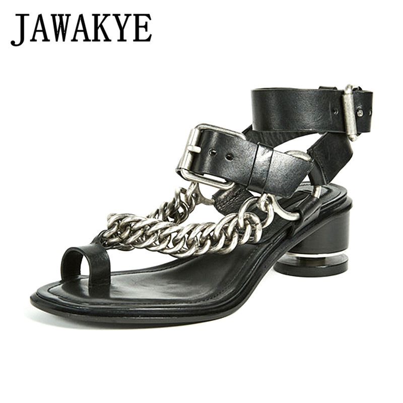 2018 New Flip Flops Chain Women Sandals Leather Metal Chains kitten heels Punk Sandal Ankle Strap Summer Shoes Sandalias mujer loslandifen new ankle strap women sandals casual patent leather red high heels shoes open toe lady summer sandal mujer sandalias