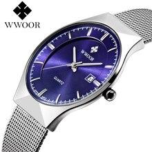سوبر سليم كوارتز ساعة اليد عادية الأعمال أفضل العلامة التجارية WWOOR الفولاذ المقاوم للصدأ التناظرية ساعة كوارتز للرجال 2016 Relojes Hombre