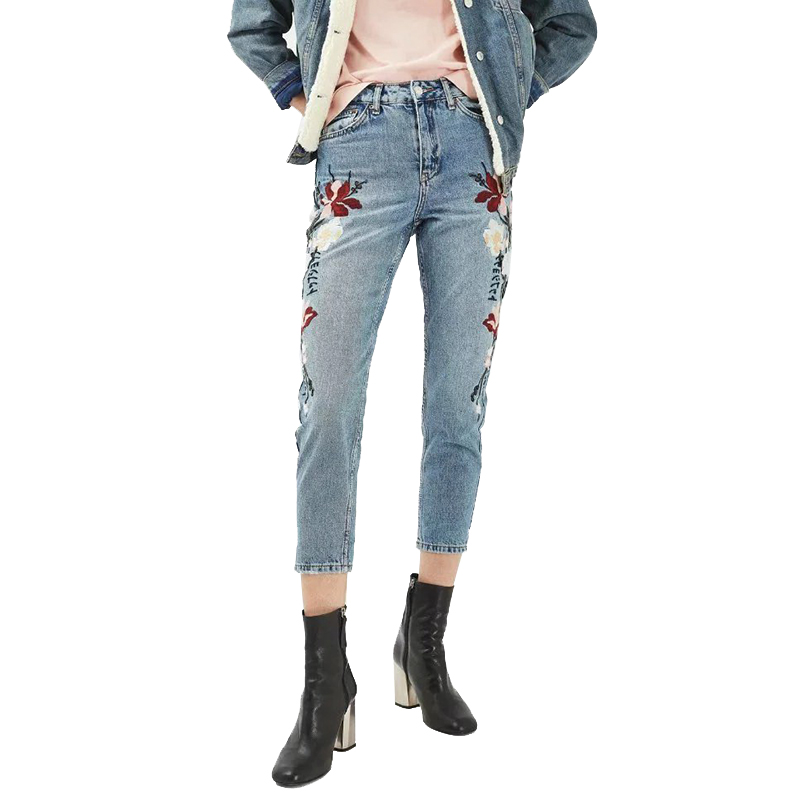 ФОТО Plus Size Women Jeans Pants 2017 New Fashion Women Spring High Waist Casual Embroidery Pencil Denim Pants Slim Jeans for Ladies