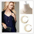 European fashion jewelry S-D-J Avalon Crescent necklace hoop earrings jewelry set golden-Free Shipping