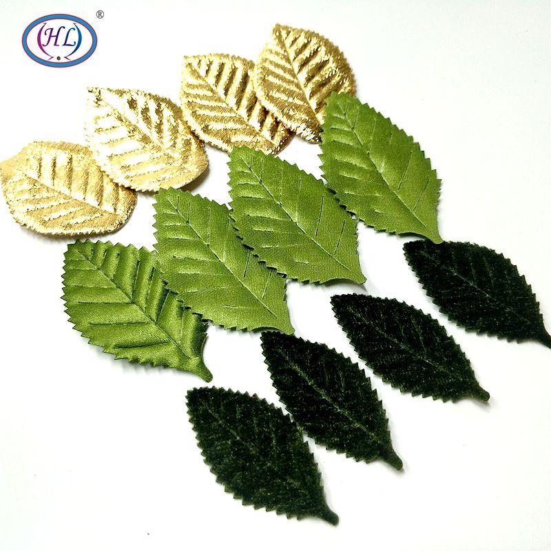 HL 50 PCS Folhas Da Folha Da Árvore de Flor Artificial Para O Casamento Decoração Da Casa de Bordados DIY Acessórios de Artesanato Scrapbooking