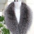 The real natural silver fox collares mujer cuello chal de piel de lujo grande del mantón de la bufanda de cuello de la mujer