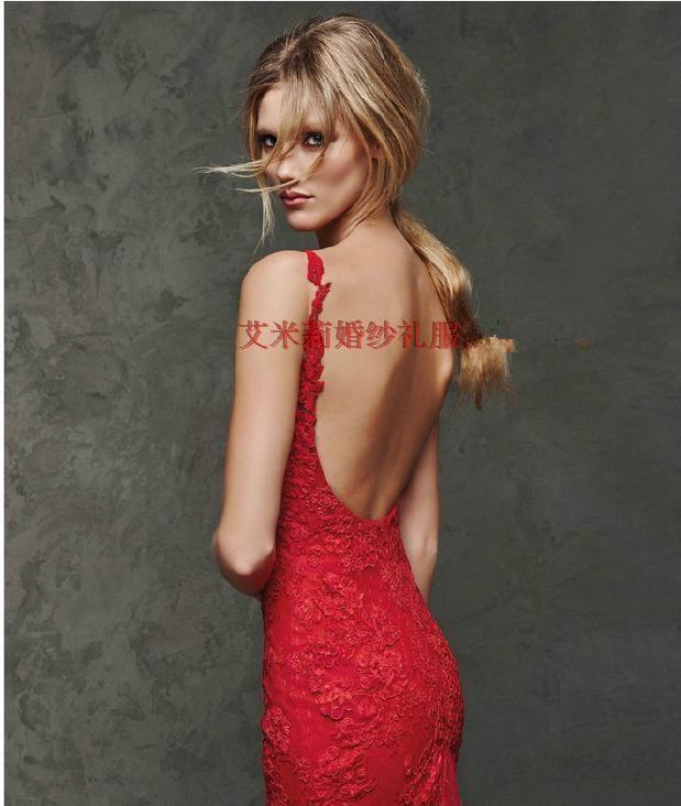 red lace appliques evening dress kadisua 2017 new sexy backless vestido de festa mermaid evening party dresses robe de soiree in Evening Dresses from Weddings Events