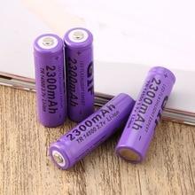 IN STOCK! 4 pcs Purple 14500 3.7 V 2300 mAh Li-Ion Rechargeable Battery цена и фото