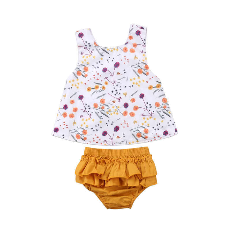 New Fashion Toddler Kids Baby Girls Outfit Clothes Sleeveless Print Floral T-shirt Tops+TuTu Pants Shorts Set