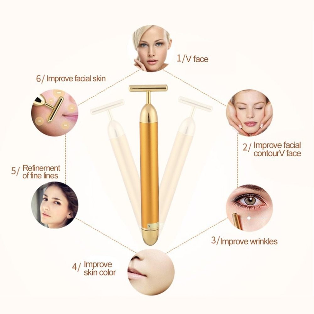 Slimming Face roller   24k Gold Colour Vibration Facial Beauty Roller Massager Stick Lift Skin Tightening Wrinkle Bar   5