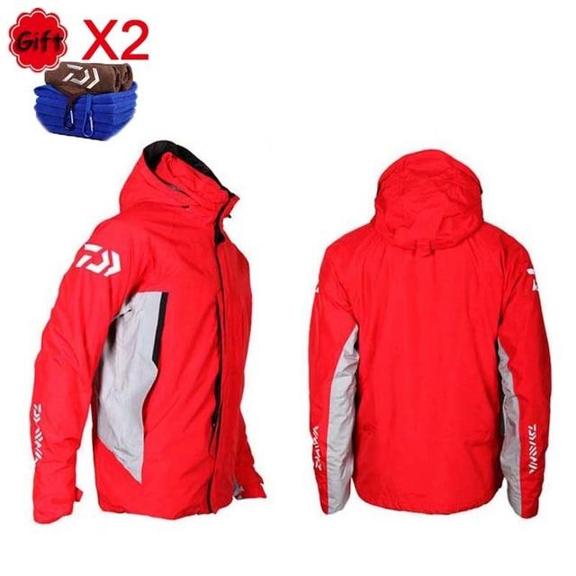 Two-piece Suit Fishing Clothing Winter Warm Liner Fleece Waterproof Hooded Long Sleeve Fishing Coat Climbing Hiking Clothes
