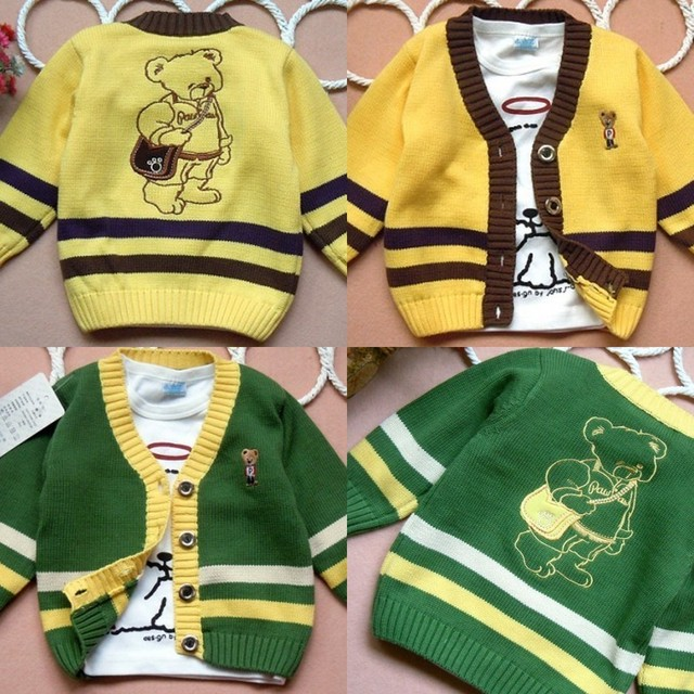 Autumn bear V-neck cardigan knitted male child sweater outerwear yellow green child cotton shirt