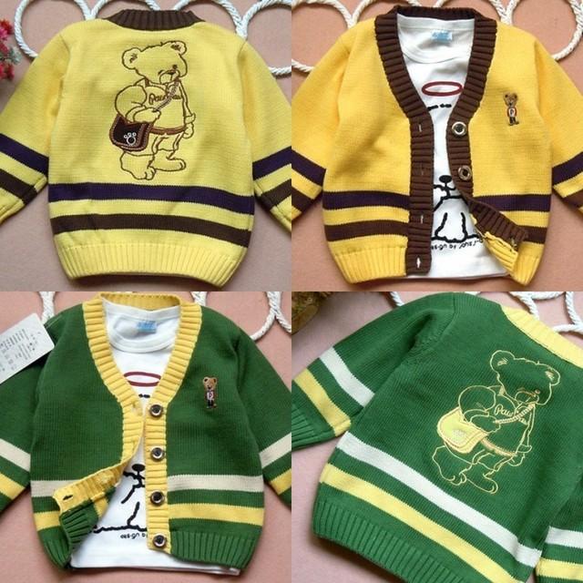 Oso otoño rebeca v-cuello de punto jersey hijo varón prendas de vestir exteriores verde amarillo de algodón del niño