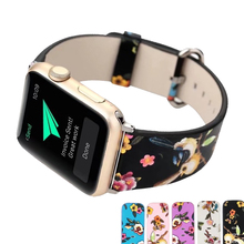 CRESTED leather strap for apple watch band 40mm 44mm wrist band bracelet iwatch 3/2 blet insect pattern smart watch band strap