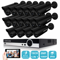 SUNCHAN 16CH Surveillance System 16pcs 1080P Outdoor Security Camera 16CH CCTV DVR Kit Video Surveillance Easy