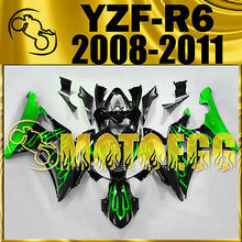Motoegg Injection Fairings For YAMAHA YZF-R6 YZF 08-11 Green Flames #M17 + Tank   Motorcycle plastic