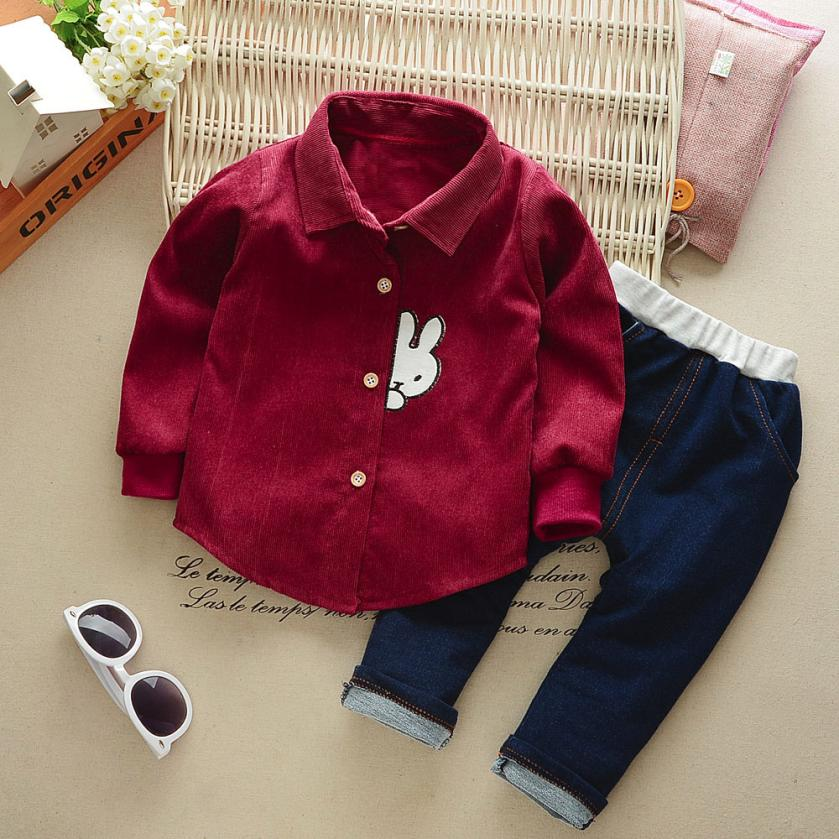 2018 Hot Sale Infant Baby Boys Solid Rabbit Cartoon Shirt Tops Pants 2Pcs Set Outfit Clothes Comfortable And Breathable 6.14