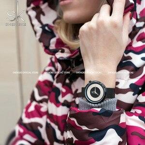 Image 2 - Женские наручные часы Shengke, женские модные часы с металлической сеткой, Винтажный дизайн, женские часы, роскошный бренд, Классические наручные часы