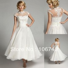 free shipping 2013 new arrival Short-sleeves high Tea Length Custom size white lace corset dress short wedding Dresses