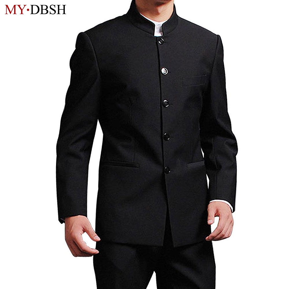 MYDBSH Male Suit Tuxedo Jacket Chinese-Stand-Collar Wedding-Terno Slim-Fit Pant Blazer