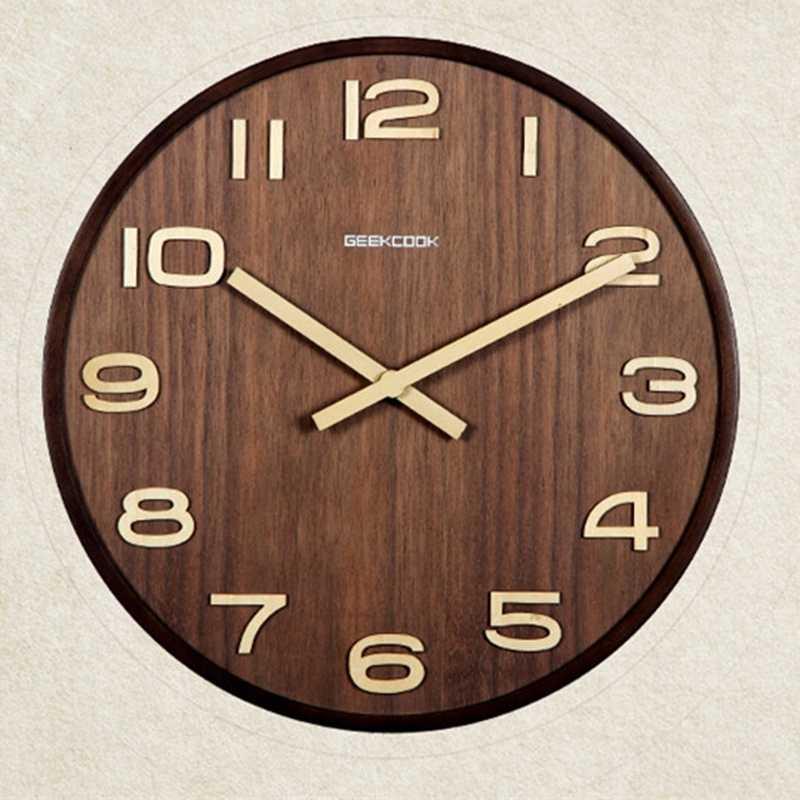 Geekcook не Светоотражающие 12 дюймов Простой дизайн бамбука настенные часы Sat Творческий Гостиная Изучаем время бар стены Cloc