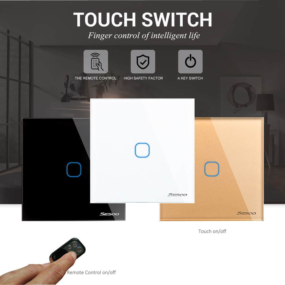 EU/UK Standard SESOO Touch Switch 1 Gang 1 Way,Wall Light Touch Screen Switch,Crystal Glass Switch Panel, Remote Control Switch