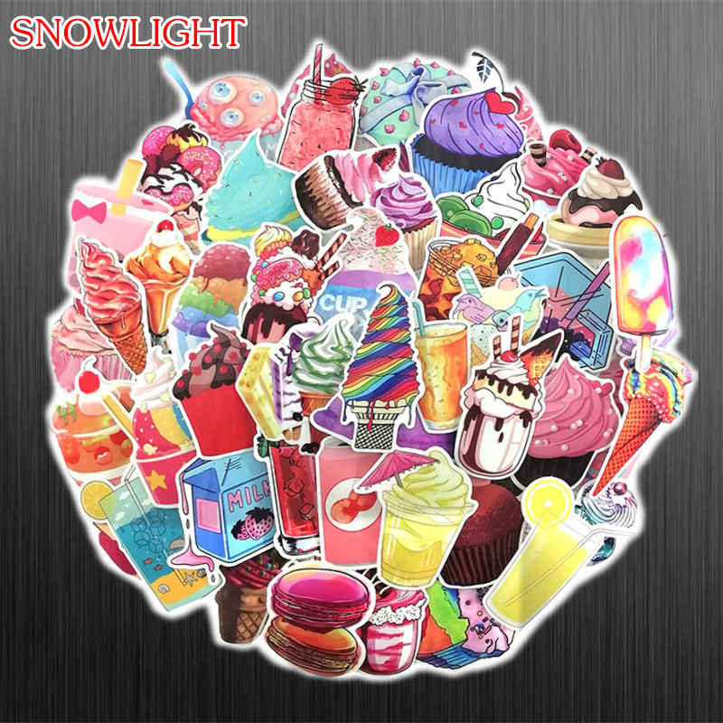 70Pcs Colorful Pink Summer Drinks Ice Cream Stickers Waterproof Decal Laptop Motorcycle Luggage Snowboard Car Sticker