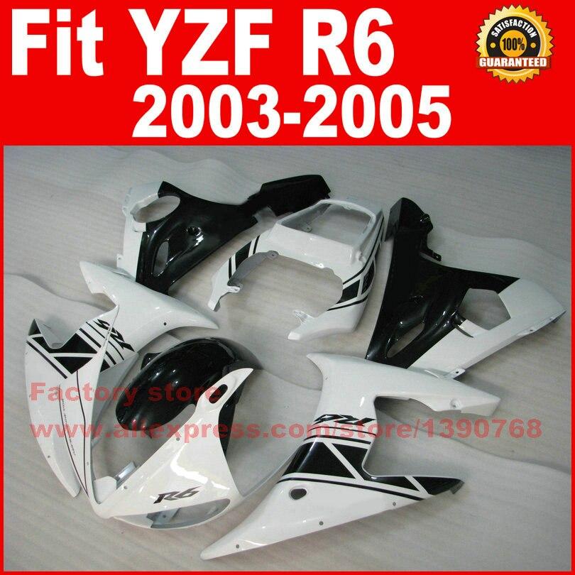 Пользовательские Средства ухода за кожей части для Yamaha YZFR6 наборы обтекателей 2003 2004 2005 Белый Черный YZF R6 мотоцикл обтекатель Средства ухода ...