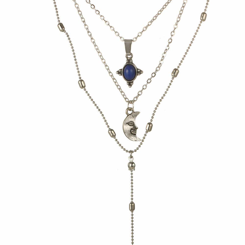 Moda kobiety kryształ wielowarstwowy Choker wisiorek do obroży naszyjnik łańcuch biżuteria stary naszyjnik sztuczna szmaragdowy wisiorek z księżycem
