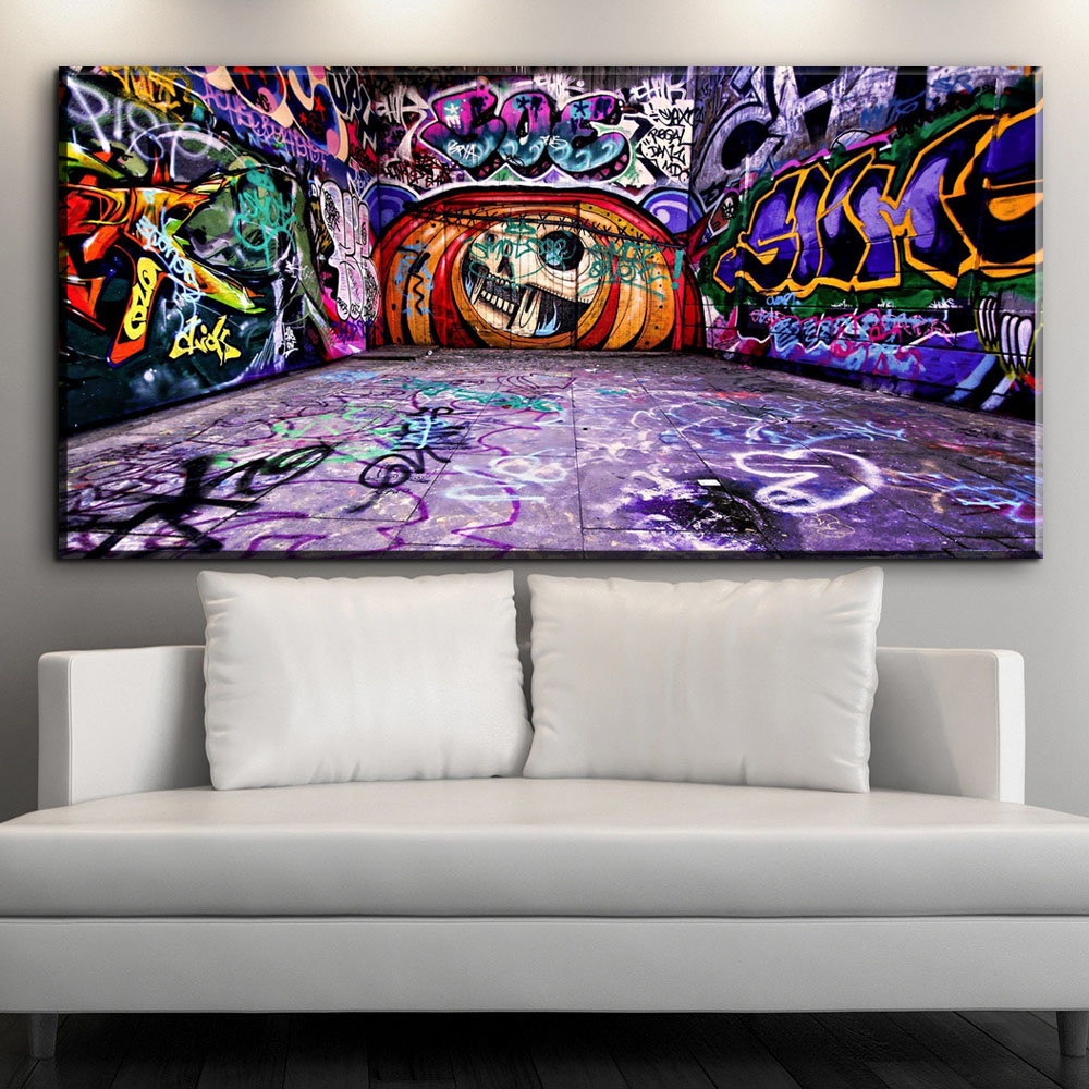 Graffiti Bedroom Art Paint Colors For Bedroom Youth Bedroom Sets Simple Little Boy Bedroom Ideas: XX412 Colorful Graffiti Street Pop Art Abstract Canvas