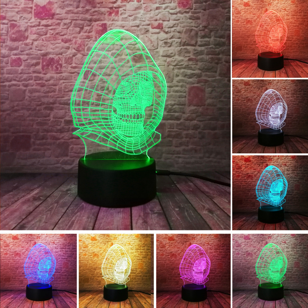 Luminaria Colorful Gradient 3D Wizard Skull Vision LED Night Light Desk Lamp Child Kid Birthday Holiday Halloween Party Gifts